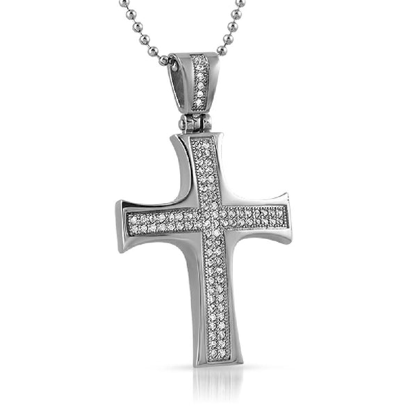 Convex CZ Micro Pave Stainless Steel Cross Mini