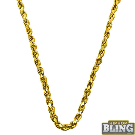Small Round Link IP Gold Stainless Steel Chain Necklace 3MM
