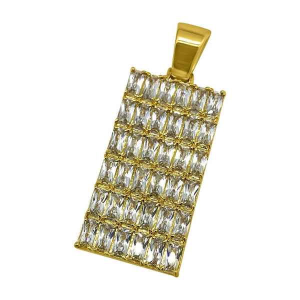 .925 Silver Baguette CZ Bling Bling Gold Dog Tag