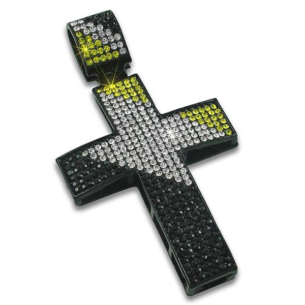 Black Diagonal Cross Bling Black & White & Canary
