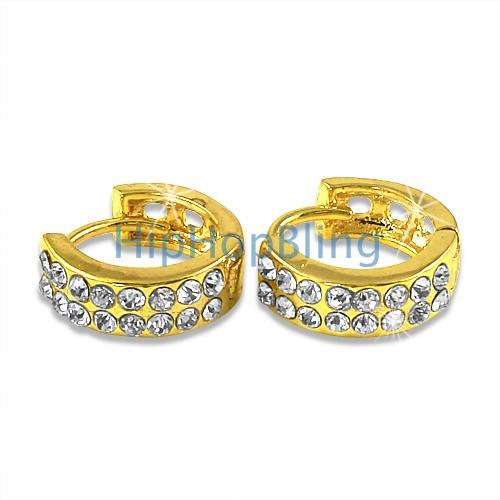 Small Huggie 2 Row Gold Bling Bling Earrings