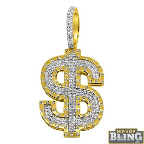 10K Gold Money Sign $ Hip Hop Pendant .51cttw Diamonds
