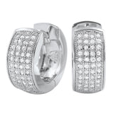 Thick 4 Row Hoops CZ Huggie Bling Earrings