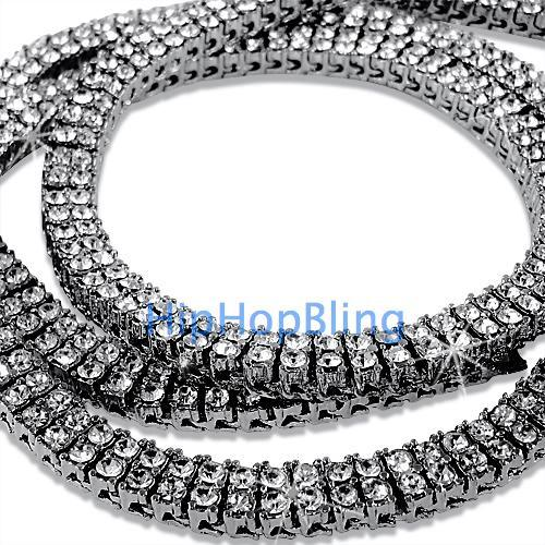 2 Row Rhodium Iced Out Bling Bling Chain