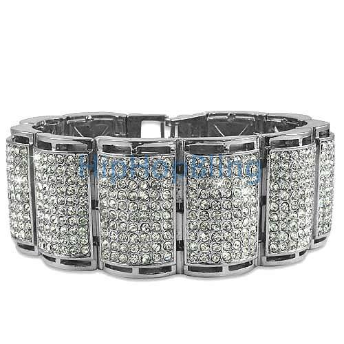 Thick Ice Log Rhodium Bling Bling Bracelet
