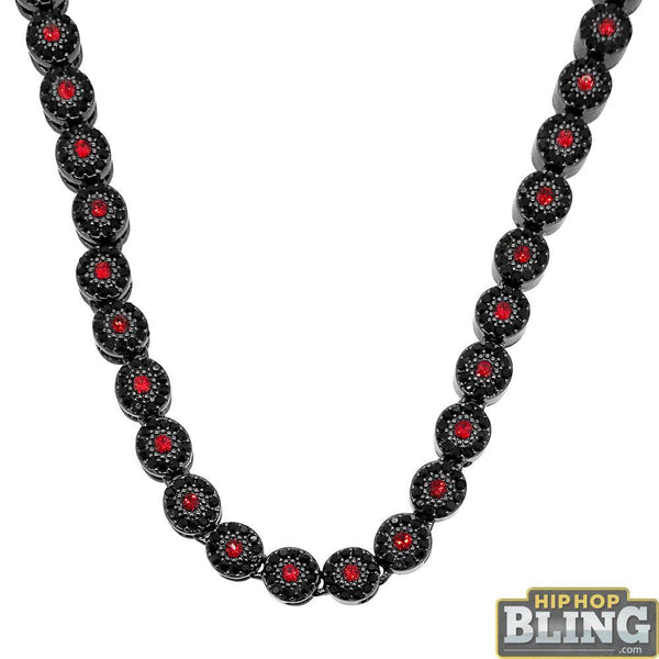 Super Icey Cluster Chain Red Black Stones