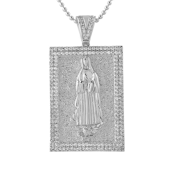 Mary Christian Rhodium Block CZ Medallion