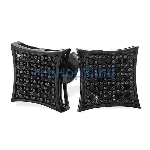 All Black Medium Kite Silver CZ Micro Pave Bling Earrings