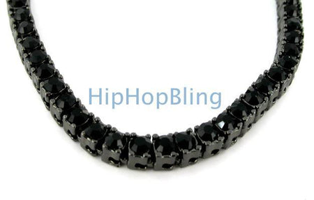 Black and Yellow Classic 4 Row Bling Bling Chain