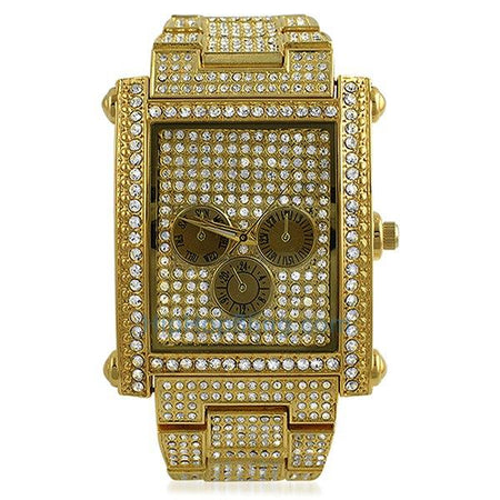 LED Digital Round Face Gold Bling Watch Black Band