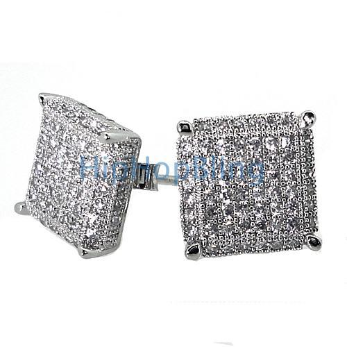 XL 3D Cube CZ .925 Silver Micro Pave Earrings