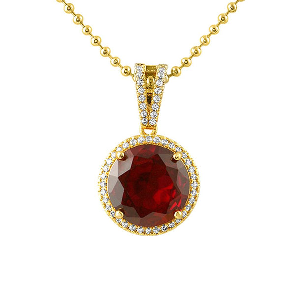 Lab Ruby Gem Red Round Halo Pendant
