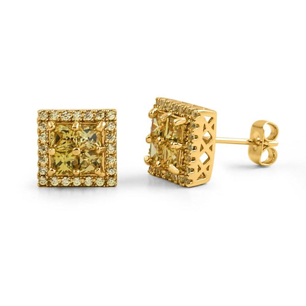 Princess Cut Square Cluster Lemonade CZ Hip Hop Earrings