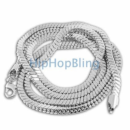 5mm Square Snake 3D Rhodium Hip Hop Chain