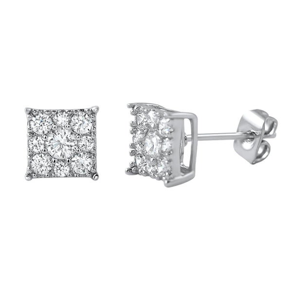 Square Cluster CZ Bling Bling Earrings
