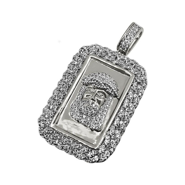 Jesus Face Rhodium CZ Bling Cuban Rectangle Pendant