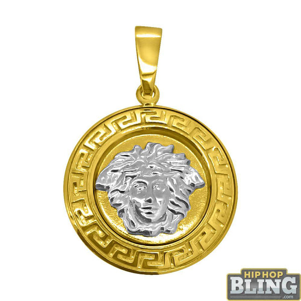 10K Gold Medusa Pendant with Greek Pattern Perimeter