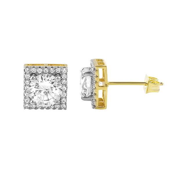 Square Halo Gold Iced Out CZ Earrings