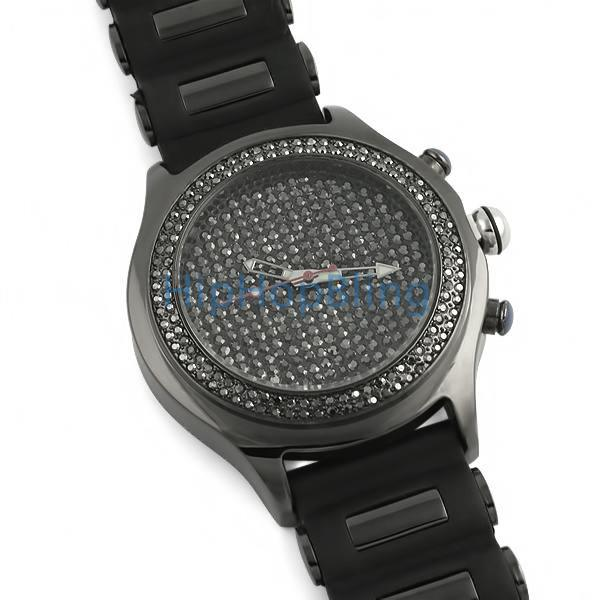 Blizzard Black Hem Bling Bling Watch