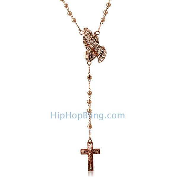Rose Rosary Necklace Bling Bling Praying Hands