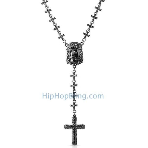Black Jesus Piece Fully Bling Cross Link Rosary Necklace