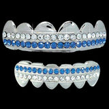 White / Blue Double Deck Iced Out Silver Grillz Hip Hop Grills TOP & BOTTOM TEETH COMBO
