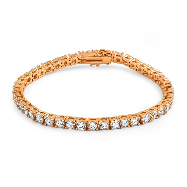 4MM CZ 1 Row Bling Bling Tennis Bracelet Rose Gold