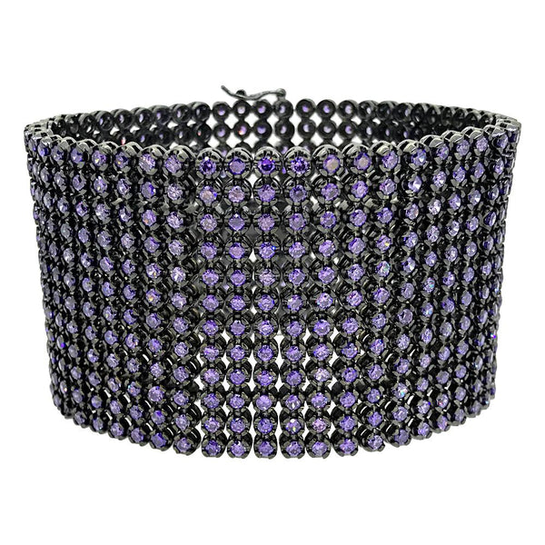 CZ 12 Row Purple Stones Bling Bling Bracelet