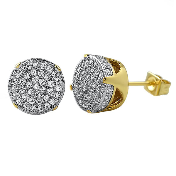 Solitaire Micro Pave Gold CZ Earrings