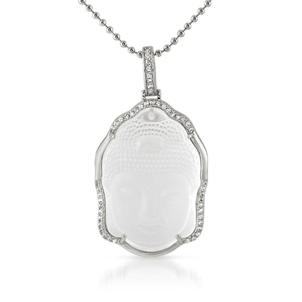 Buddha Carved Frosted Crystal Pendant Rhodium Bling Outline