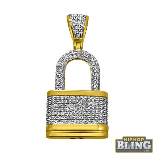 3D Mini Padlock Pendant .62cttw Diamond 10K Yellow Gold