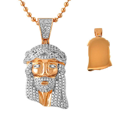 Rose Gold Cuban Crown Micro Jesus Pendant