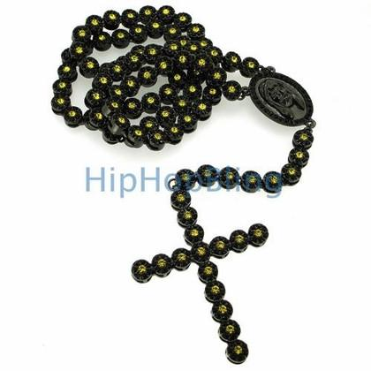 Black and Yellow Center Bling Bling Cluster Rosary Chain