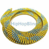 Yellow & Blue Candy Cane Gold 4 Row Bling Bling Necklace