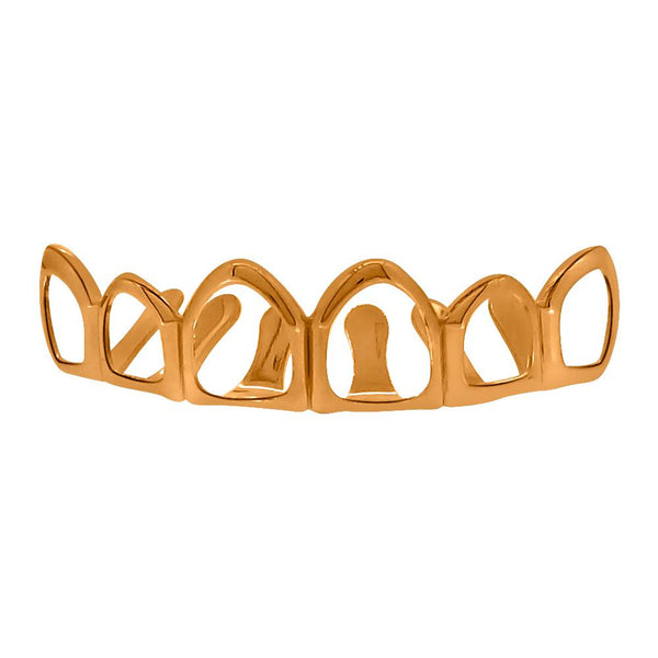 Rose Gold Grillz 6 Outline Teeth Top