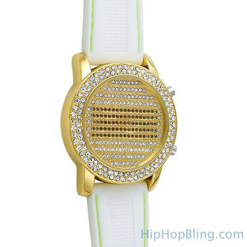 Gold LED Digital Round Face Bling Watch White Band