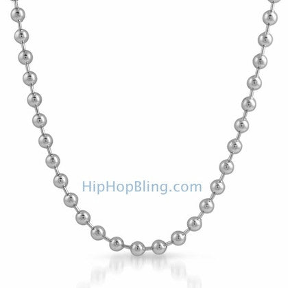 6mm Rhodium Plated Bead Dog Tag Ball Necklace
