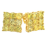 Triple Diamond CZ Lemonade Bling Bling Earrings