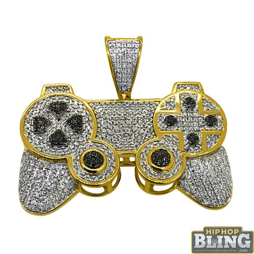 1.20cttw Gamers Controller 3D Pendant 10K Yellow Gold