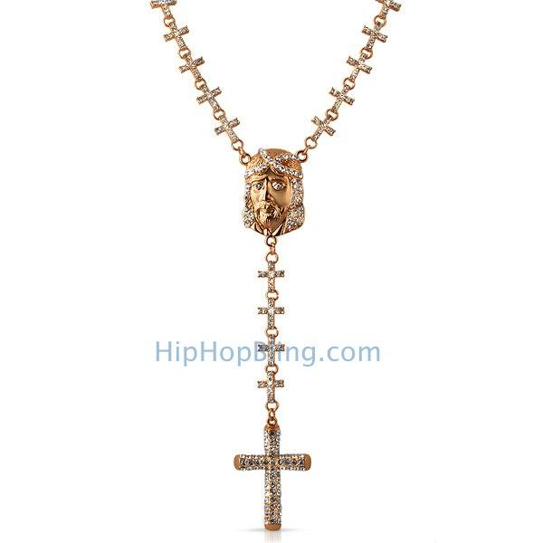 Cross Bling Links Rosary Rose Gold Jesus Piece