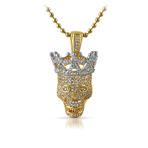 Full Bling 3D Hip Hop Skull Pendant Gold with Silver Crown