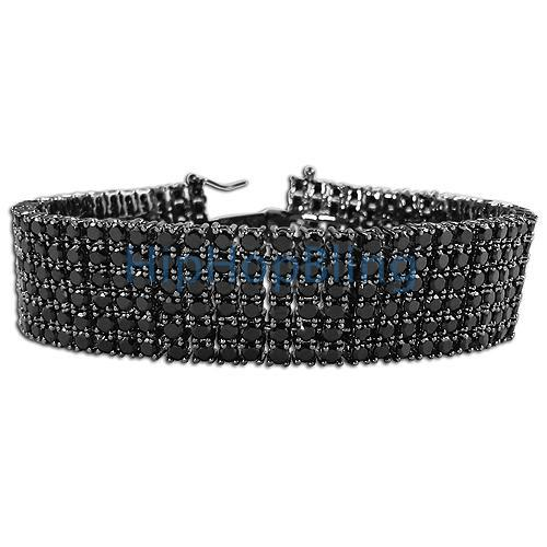 6 Row Black on Black CZ Bling Bling Bracelet