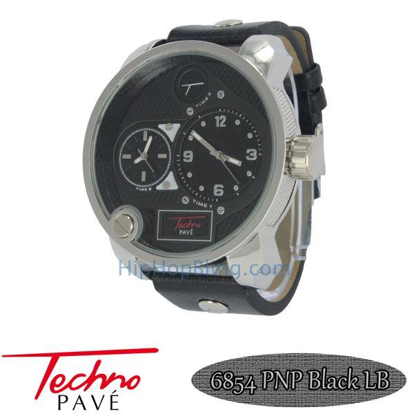 Dual Time Zone Silver Watch Black Leather Band