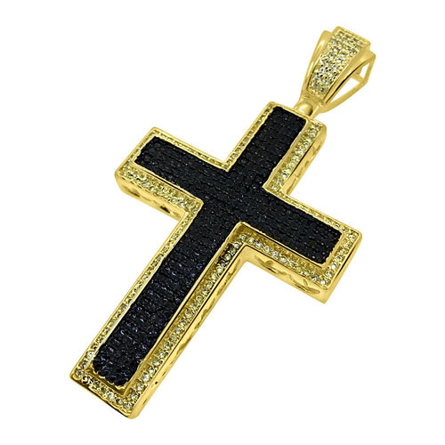 Clean Bar Cross Black and Yellow Gold Pendant