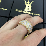 .925 Silver Bling Bling Royal 360 Eternity Band Gold CZ Ring