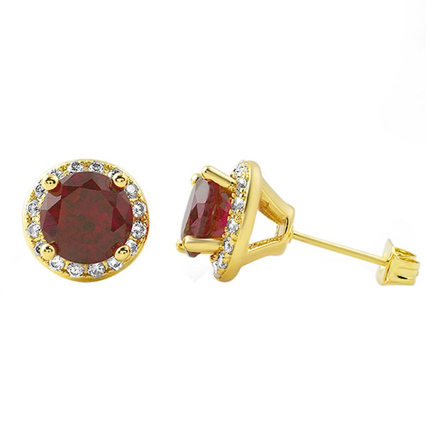 Gold Bling Bling Earrings Lab Ruby Micro Pave Halo