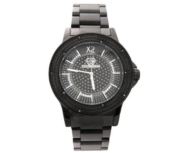 All Black Super Techno Real Diamond Watch Bling