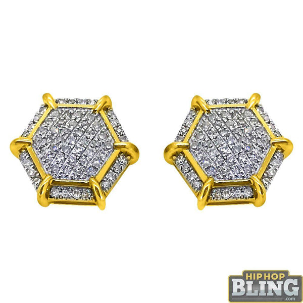 10K Yellow Gold Fancy Hexagon .30cttw Diamond Earrings