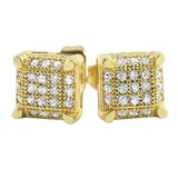 Small Cube CZ Gold Micro Pave Earrings