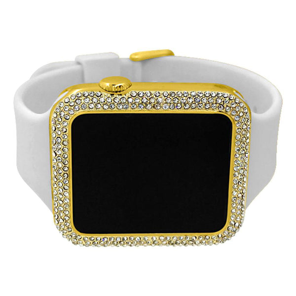 Bling Bling Gold Rectangle LED Touch Screen Watch White Band